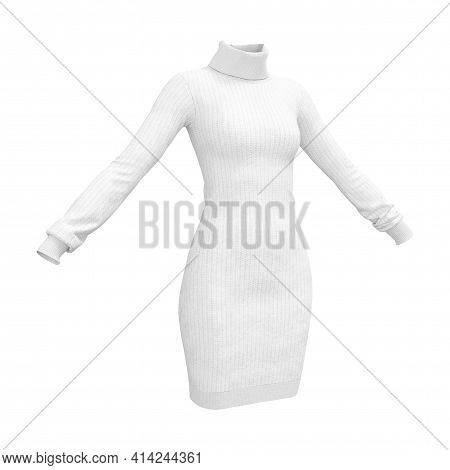 Simple White Comfort Woman Knitwear Sweater On A White Background. 3d Rendering