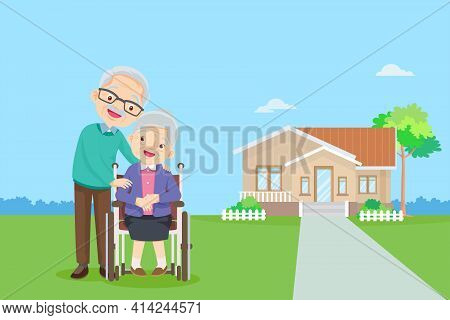 Old Couple In The Background Of His Home.elderly Together In Front Of Home. Happy Elderly Be Happy O