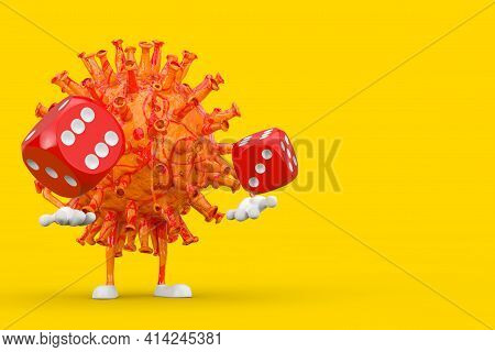 Cartoon Coronavirus Covid-19 Virus Mascot Person Character With Red Game Dice Cubes In Flight On A Y