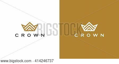 Crown Logo Vector Mono Line Logo Design