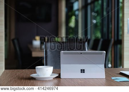 Chiangmai, Thailand - Oct 15, 2020 : Microsoft Surface Tablet On Desk. Created By Microsoft For Wind