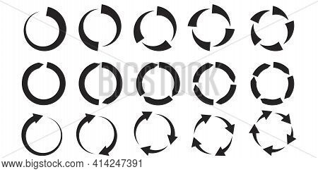 Circular Arrows. Vector Pattern. Black Circular Arrows On White Background. Cursor Arrow Icon Set. S