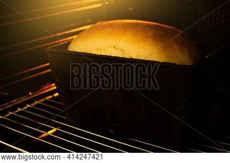 Bread In The Oven. A Loaf Of Bread Is In A Hot Oven. The Baker Makes Bread. Loaf At Home. Healthy Ea