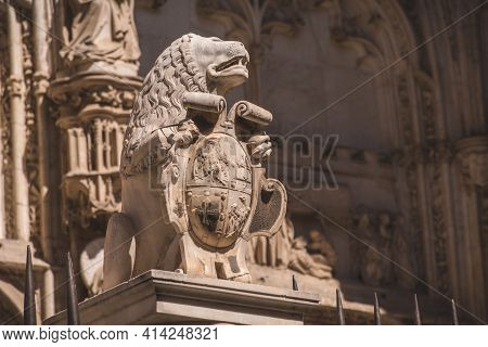 Closeup To A Statue Of A Cathedral In Toledo Spain