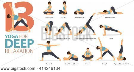 Infographic 13 Yoga Poses For Workout In Concept Of Deep Relaxation In Flat Design. Women Exercising