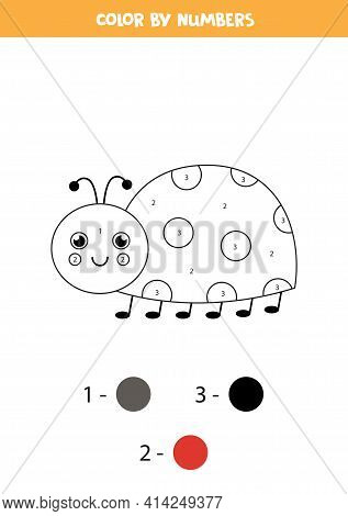 Coloring Page With Cute Ladybug. Color By Numbers. Math Game For Kids.