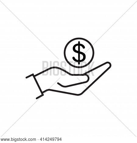 Hand Holding Dollar Icon Vector Save Money Icon, Salary Money, Invest Finance For Graphic Design, Lo