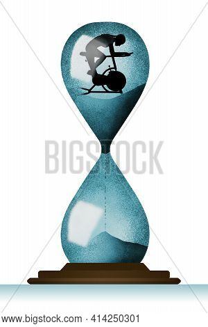 A Female Rides An Exercise Bicycle Inside A Huge Hourglass In This 3-d Illustration About Prolonging