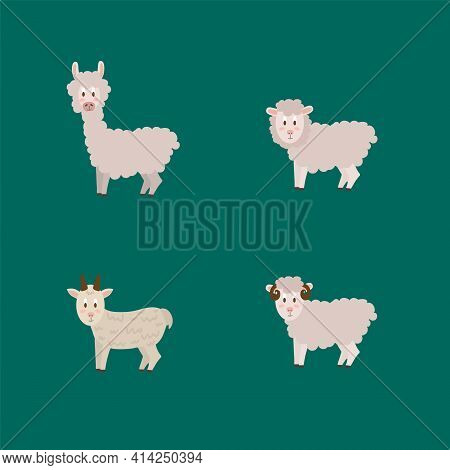 Vector Set Of Farm Animals. Cute Collection Of Livestock Illustrations. Isolated Characters Cow, Don