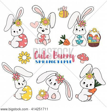 Cute Sweet Easter Bunny Springtime With Egg Cartoon Doodle Collection Set