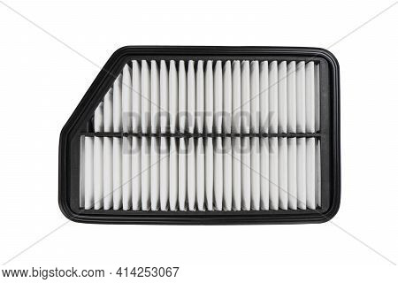 New Car Air Filter Element. Car Engine Air Filter Isolated On White Background. Close-up Air Filter