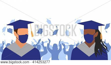 Graduation Ceremony In Condition Of Pandemic Disease. Graduates In Medical Face Mask And Mantle And