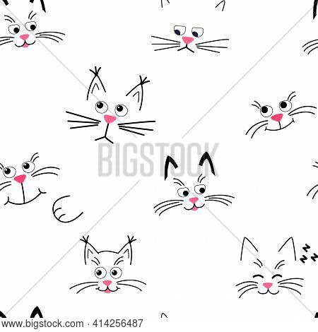 Cute Kitty Muzzle Pattern. Seamless Pattern With Face Cats On White.