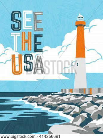Retro Travel Poster Design Of Lighthouse And Rocky Coast In Usa. For Poster, Banner, Travel Sticker.