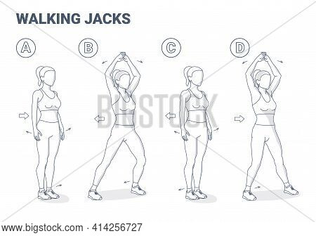 Walking Jacks Exercise Women Workout Guidance. Side Steps With Hands Raise Young Female Illustration