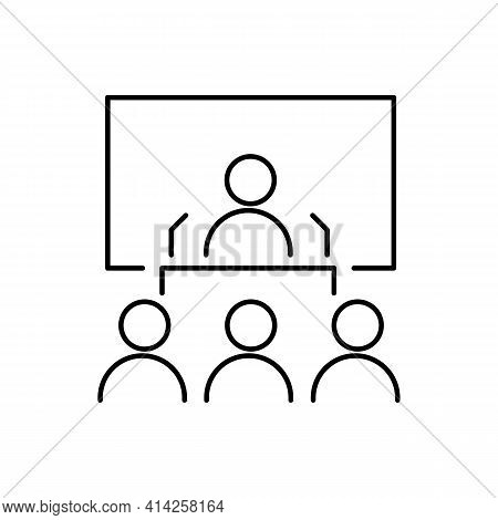 Speaker Or Conference Thin Line Icon In Black. Person Behind The Pulpit On Presentation. Business Co
