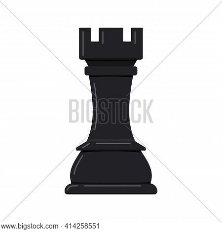 Chess Rook Piece Vector Icon Isolated On White Background.