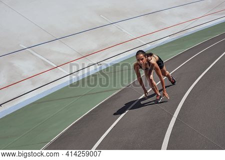 On Your Mark, Get, Go Runner On The Stadium Track. Woman Summer Fitness Workout. Jogging, Sport, Hea