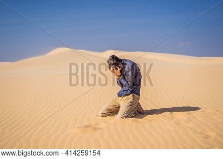 Exhausted Man In The Desert. Apathy, Fatigue, Exhaustion, Mental Disorders Concept. Mental Health
