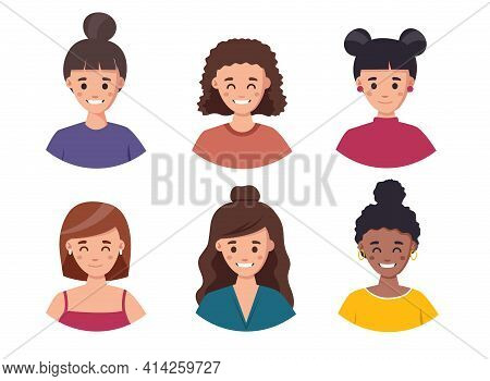 Women Avatar Set Illustration. Set Of Cute Girls With Different Hairstyles And Hair Color Illustrati
