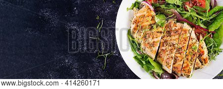 Grilled Chicken Fillet With Salad. Keto, Ketogenic, Paleo Diet. Healthy Food.  Diet Lunch Concept. T