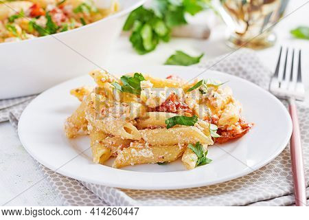 Fetapasta. Trending Feta Bake Pasta Recipe Made Of Cherry Tomatoes, Feta Cheese, Garlic And Herbs.