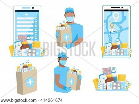 Delivery Of Medicines Vector Set Of Medicines, A Courier In A Protective Mask With A Package Of Medi
