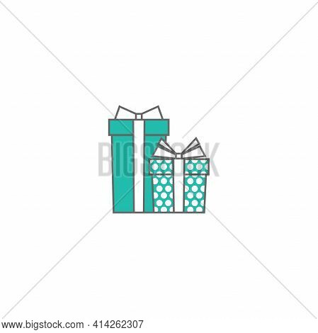 Two Turquoise And White Present Box With Ribbon And Bow. Simple Icon Isolated On White Background. P