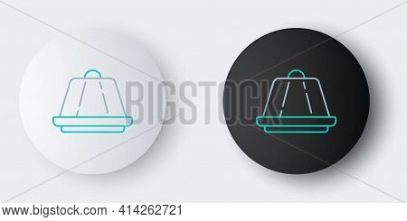 Line Pudding Custard With Caramel Glaze Icon Isolated On Grey Background. Colorful Outline Concept.