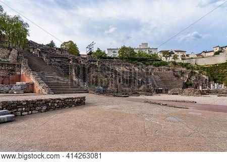 Theatre Gallo Romain, The Ancient Roman Theatre Of Fourvier At Lyon, France.
