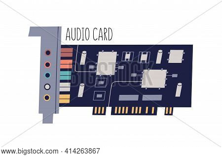 Audio Or Sound Card For Personal Computer Or Laptop. Internal Pc Component With Chips, Sockets And C