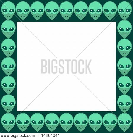 Vector Square Frame From Aliens Green Heads. Background, Border, Decoration On Theme Of Space, Ufo,