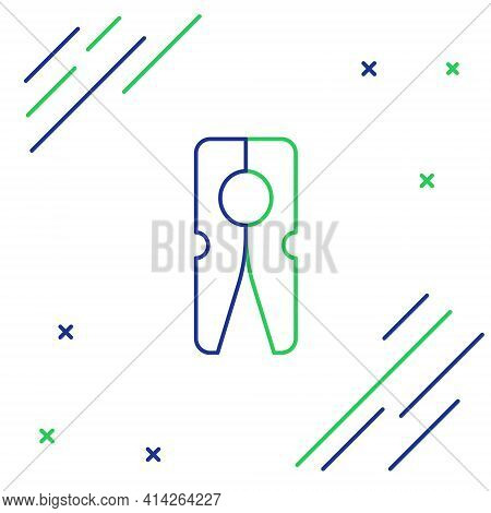 Line Old Wood Clothes Pin Icon Isolated On White Background. Clothes Peg. Colorful Outline Concept.