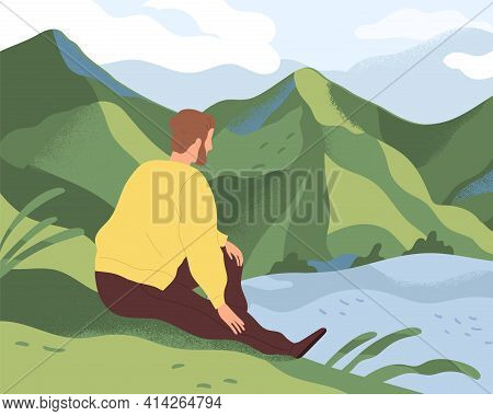 Man Resting In Nature Alone. Thoughtful Person Sitting On River Bank, Looking At Water And Thinking