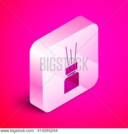 Isometric Aroma Diffuser Icon Isolated On Pink Background. Glass Jar Different With Wooden Aroma Sti
