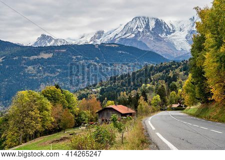 French Alps In Autumn. Road Near Megeve, France, Europe. The High Mountains Of Haute Savoie Near Cha