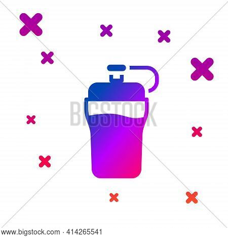 Color Fitness Shaker Icon Isolated On White Background. Sports Shaker Bottle With Lid For Water And
