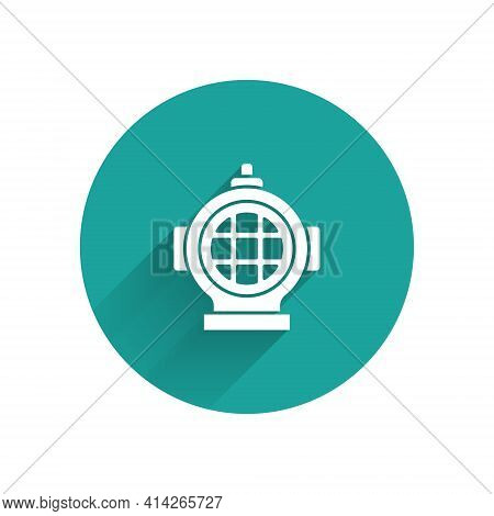 White Aqualung Icon Isolated With Long Shadow. Diving Helmet. Diving Underwater Equipment. Green Cir