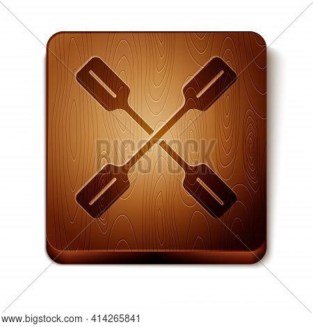 Brown Paddle Icon Isolated On White Background. Paddle Boat Oars. Wooden Square Button. Vector