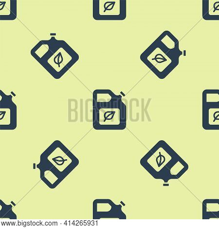 Blue Bio Fuel Canister Icon Isolated Seamless Pattern On Yellow Background. Eco Bio And Barrel. Gree