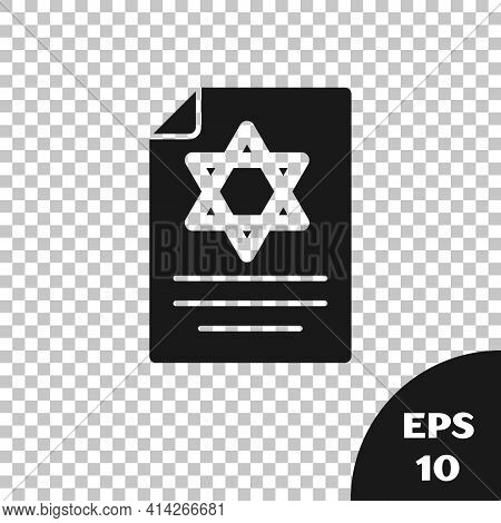 Black Torah Scroll Icon Isolated On Transparent Background. Jewish Torah In Expanded Form. Star Of D