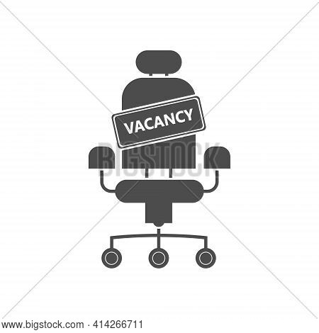 Vacancy Sign On An Empty Seat. Hiring An Employee, A Business Vacancy. Flat Design.