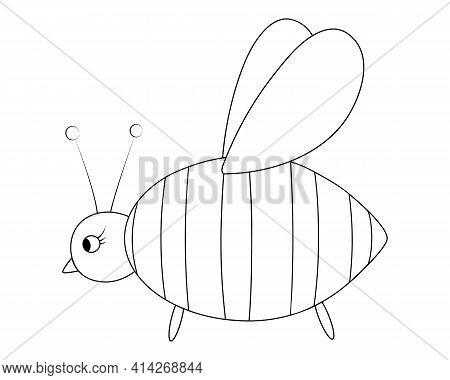 Bee. Sketch. Little Fly, Honey Lover. Vector Illustration. Coloring Book For Children. Bumblebee Wif