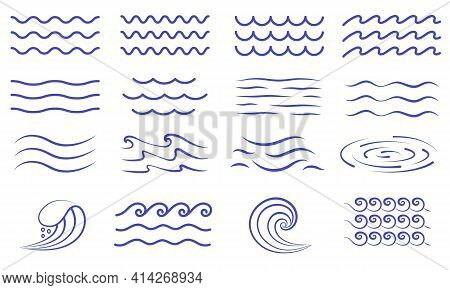 Large Set Of Water Icons Showing Waves And Surf With Patterns Of Undulating Lines, Whirlpool, And Cu