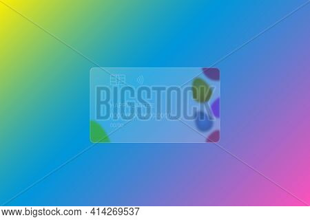 Happy Easter. Transparent Credit Card. Frosted Glass. Colored Vector Illustration. Style Glassmorphi