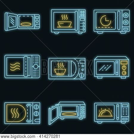 Microwave Icons Set. Outline Set Of Microwave Vector Icons Neon Color On Black