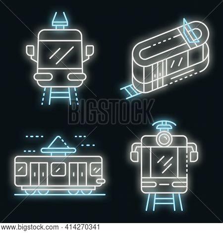 Tram Car Icons Set. Outline Set Of Tram Car Vector Icons Neon Color On Black