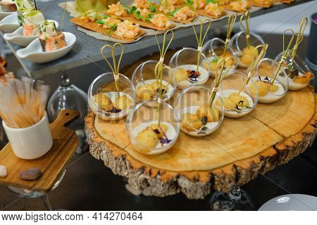 Catering Service. Snacks For Guests On The Table.