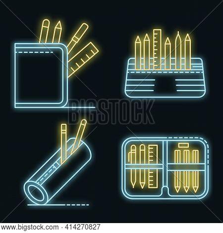 Pencil Case Icons Set. Outline Set Of Pencil Case Vector Icons Neon Color On Black