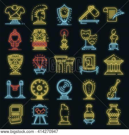 Museum Icons Set. Outline Set Of Museum Vector Icons Neon Color On Black